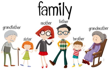 Illustration pour Family members with three generations illustration - image libre de droit