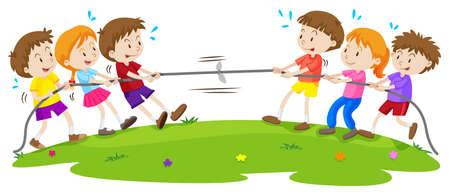 Illustration pour Kids playing tug of war at the park illustration - image libre de droit