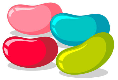 Illustration for Jelly beans in four colors illustration - Royalty Free Image