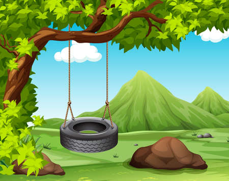 Ilustración de Scene with swing on the tree illustration - Imagen libre de derechos