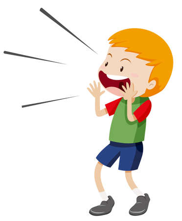 Illustration pour Little boy shouting out illustration - image libre de droit