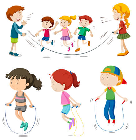 Illustration for Boys and girls jumping rope  illustration - Royalty Free Image