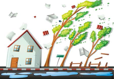 Illustration pour Heavy storm in the city illustration - image libre de droit