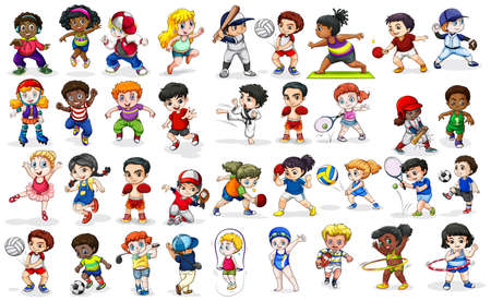 Ilustración de Children doing many sports and activities illustration - Imagen libre de derechos