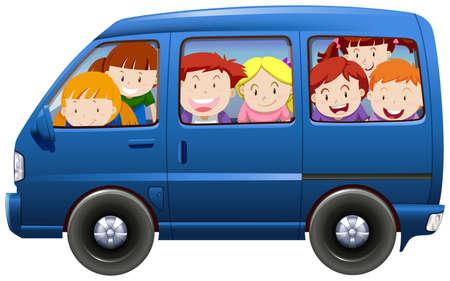 Ilustración de Children having carpool in blue van illustration - Imagen libre de derechos