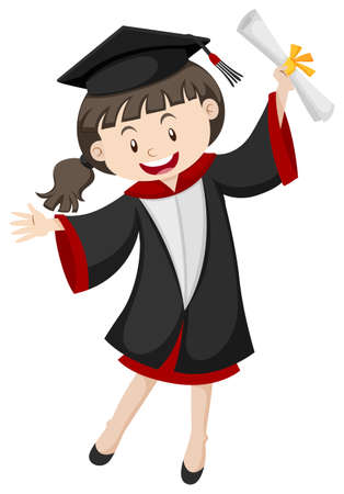 Woman in graduation gown and certificate illustration
