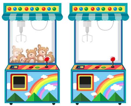 Illustration pour Arcade game machine with dolls illustration - image libre de droit