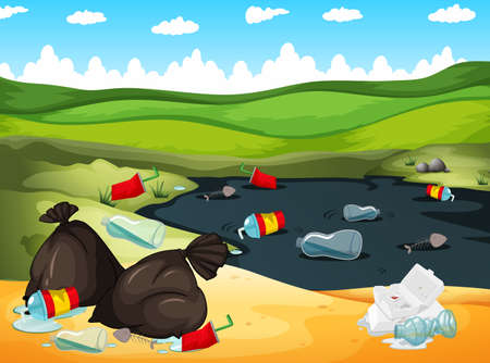 Illustration pour Rubbish in river and on the ground illustration - image libre de droit