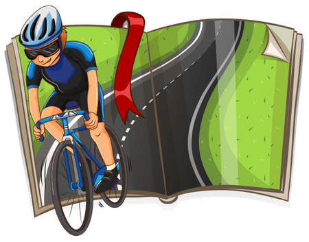 Illustrazione per Book with cyclist riding on the road illustration - Immagini Royalty Free