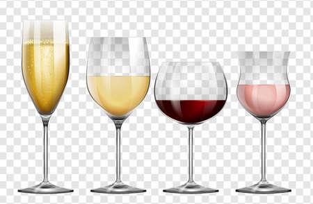 Ilustración de Four different kinds of wine glasses illustration - Imagen libre de derechos