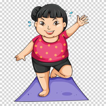 Ilustración de Fat girl doing yoga on mat illustration - Imagen libre de derechos