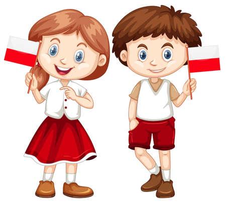 Illustration pour Happy boy and girl holding flag of Poland illustration - image libre de droit