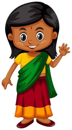 Illustration for Little girl from Srilanka waving illustration - Royalty Free Image