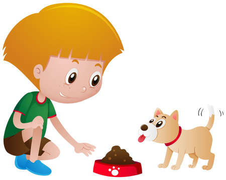 Photo pour Little boy feeding pet dog illustration - image libre de droit