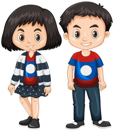 Illustration for Boy and girl wearing shirt with Laos flag  illustration - Royalty Free Image
