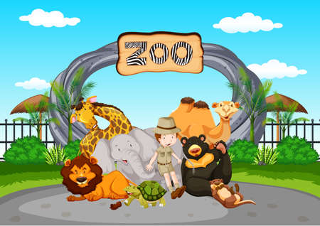 Illustration pour Scene at the zoo with zookeeper and animals illustration - image libre de droit