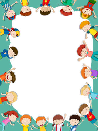 Illustration for Border template with happy children in background illustration - Royalty Free Image