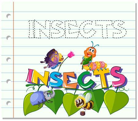 Ilustración de Tracing word for insects illustration - Imagen libre de derechos
