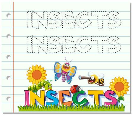 Ilustración de Tracing worksheet for word insects illustration - Imagen libre de derechos