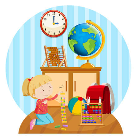 Illustration for Little girl plays blocks in room illustration - Royalty Free Image
