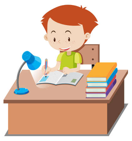 Illustration pour Little boy doing homework on table illustration - image libre de droit