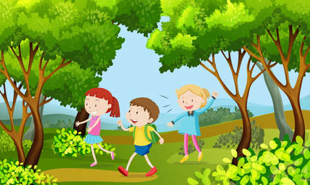 Illustration for Three kids walking in the woods illustration - Royalty Free Image