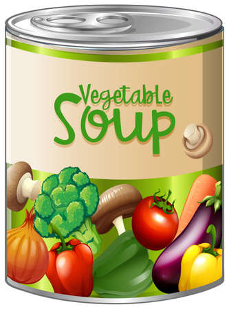 Illustration for Vegetable soup in aluminum can illustration. - Royalty Free Image
