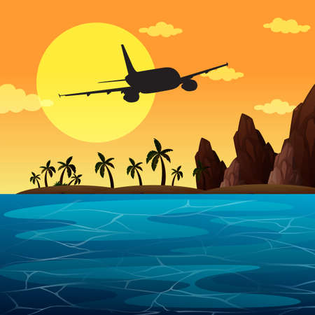 Illustration pour A Background scene with airplane flying over ocean illustration - image libre de droit
