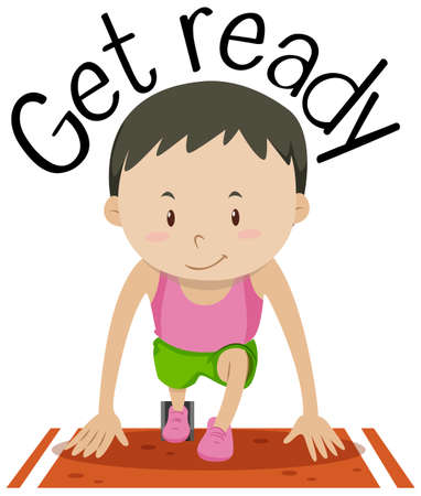 Illustration for Word card for get ready with boy at the start of the race Vector illustration. - Royalty Free Image