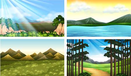 Illustration pour Four nature scenes with forest and lake illustration - image libre de droit