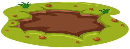 Ilustración de Muddy puddle on the ground illustration - Imagen libre de derechos