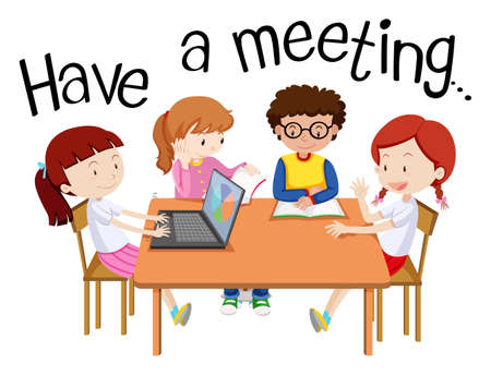 Illustration for Illustration for having a meeting with people on the table illustration - Royalty Free Image
