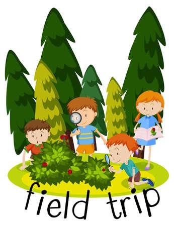 Illustration pour Illustration for field trip with kids learning in garden illustration - image libre de droit