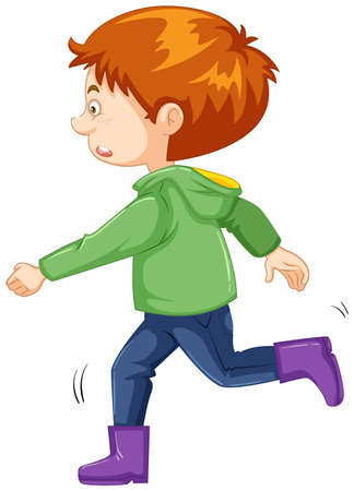 Illustration for Boy with green jacket and purple boots illustration - Royalty Free Image