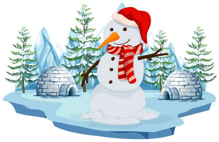 Illustration pour A Snowman in Norh Pole illustration - image libre de droit