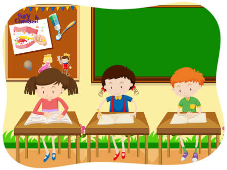 Illustration pour Three Students Learning in Classroom illustration - image libre de droit