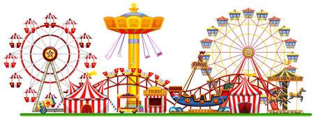 Illustration pour A Panorama of Fun Fair illustration - image libre de droit