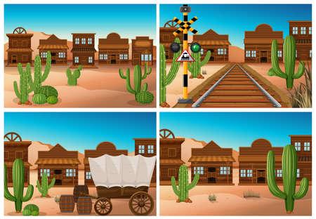 Illustration pour Set of wild west town illustration - image libre de droit