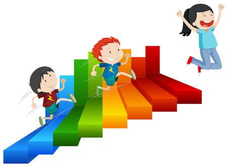 Illustration pour A Happy Girl Reach on Top of Steps illustration - image libre de droit