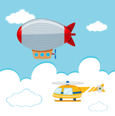 Illustration pour blimp and Helicopter in the sky illustration - image libre de droit