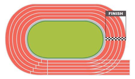 Illustration pour Aerial view of a running track illustration - image libre de droit