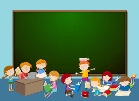 Illustration pour Children in front of chalkboard illustration - image libre de droit