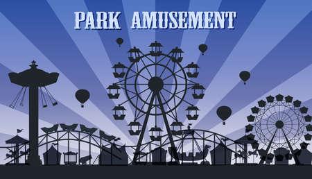 Illustration pour A silhouette amusement park template illustration - image libre de droit