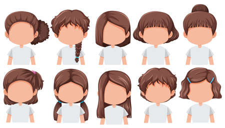 Ilustración de Set of girl with different hairstyle illustration - Imagen libre de derechos
