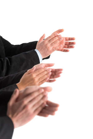 Photo for closeup of business people hands applauding at white background. Photo of business partners hands applauding at meeting  - Royalty Free Image