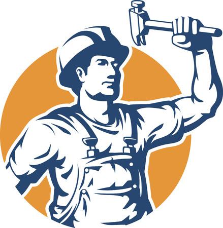 Illustration pour Construction Worker Silhouette Vector - image libre de droit