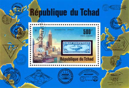 Foto de STAVROPOL, RUSSIA - Januar 08, 2018: a stamp printed in  Chad shows  Zeppelin Flight,  series, cirka 1975 - Imagen libre de derechos