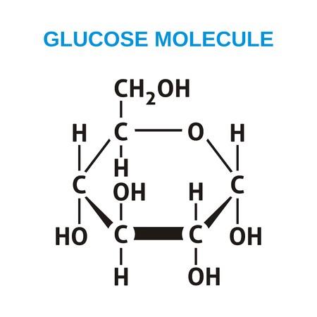 Illustration pour Black structural formula of glucose molecule - image libre de droit