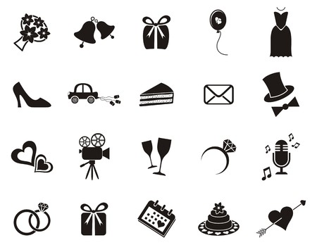 Illustration for Set of black silhouette icons for wedding invitations - Royalty Free Image