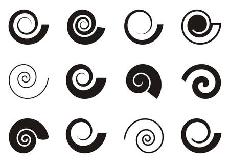 Ilustración de Set of various spiral icons on white background - Imagen libre de derechos